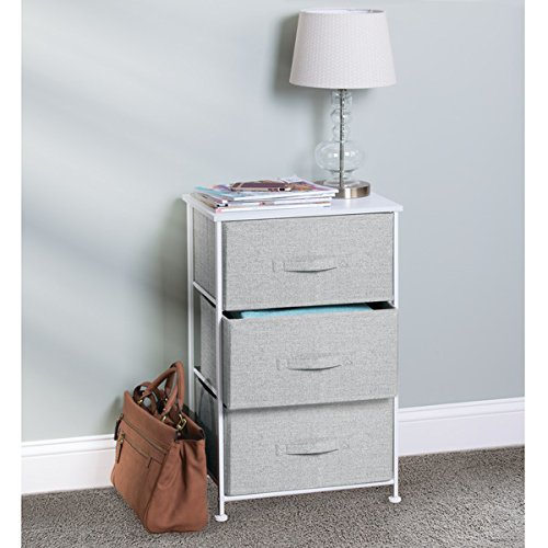 mDesign Fabric 3-Drawer Storage Organizer Unit for Closet, Bedroom, Entryway - Gray