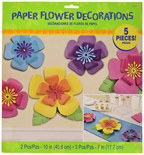 Amscan 242147 Party Supplies Hibiscus Paper Flowers 5ct, Multi Sizes, Color ()