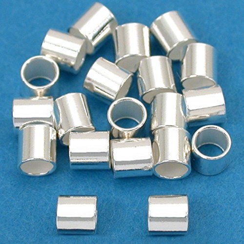 Sterling Silver Crimp Beads - 20 Large Sterling Silver Crimp Beads Tube Jewelry 3x3mm