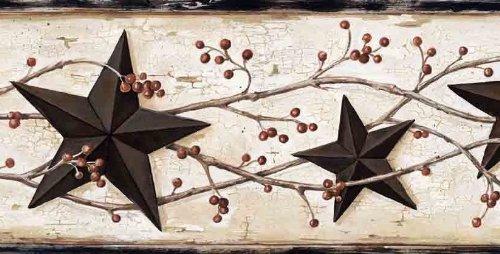 Wallpaper Border Black Tin Stars and Rosehip Trail on White Crackle Background