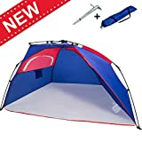 690GRAND Easy Setup Beach Tent Sun Shelter Instant Pop up Cabana 3-4 Person Family Size for Fishing Camping Outdoor Anti UV with 4 Stakes and Portable Carry Bag