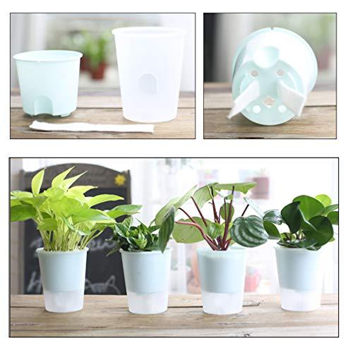 TraveT Hydroponic Plant Flower Pot PP Material Double Cup Self Priming Lazy Plastic Flower Pot Plant ()