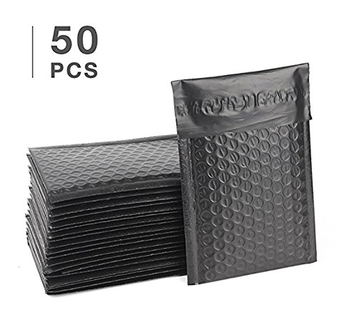 Fu Global 50 pcs 6x10 inch Black Poly Bubble Mailer Self Seal Padded Envelopes Pack of 50 (Black, 6x10)