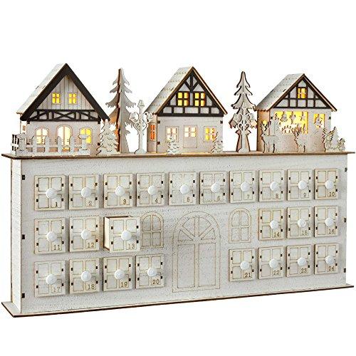 (WeRChristmas Pre-Lit Wooden Village Scene House Advent Calendar Christmas Decoration, 44 cm - White)