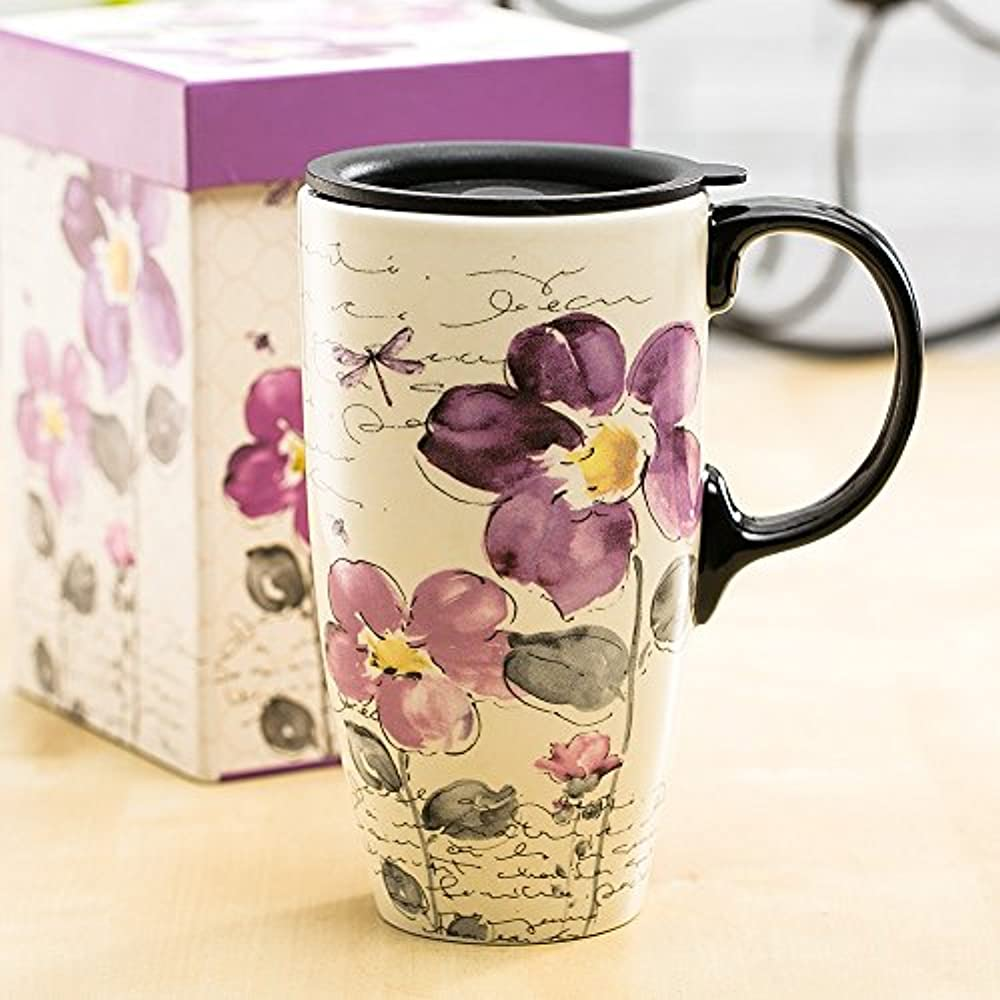 Topadorn Tall Ceramic Travel Mug 17 Oz. Coffee Cups Sealed ...