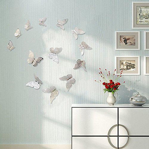 FLY SPRAY Silver Butterfly Mural Decor 36pcs Removable Hollow-out Wall Stickers with Adhesive Glitter DIY Decals Decoration Exquisite 3D Crafts