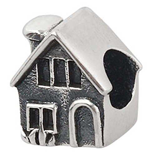 Home Charm 925 Sterling Silver Family Charm House Charm for DIY Charms Bracelet (B) (House Sterling Charm Silver)