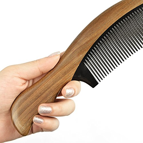 HBY™ Handmade Premium Quality Natural Black Ox Horn & Green Sandal Wood Comb
