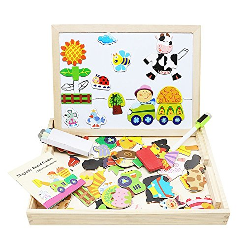 Lewo Wooden Kids Toys Magnetic Easel Dry Erase Board Puzzles Games