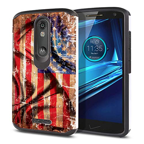 - FINCIBO Case Compatible with Motorola Droid Turbo 2 Kinzie XT1585 X Force XT1580, Dual Layer Hard Back Hybrid Protector Case Cover TPU for Droid Turbo 2 (NOT FIT Droid Turbo) - Wavy American USA Flag