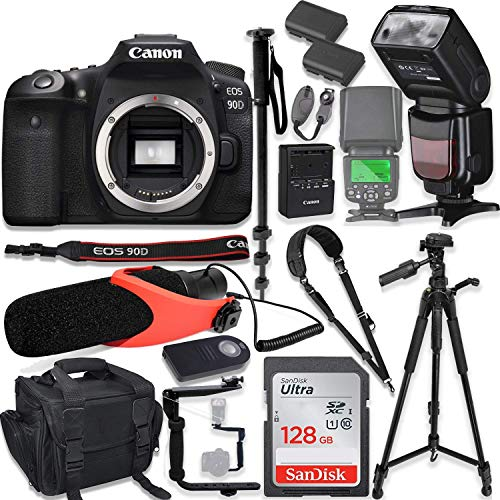 "Canon EOS 90D DSLR Camera Body Only Kit with Pro Photo & Video Accessories Including 128GB Memory, Speedlight TTL Flash, Quick Release Strap, Condenser Micorphone, 60"" Tripod & More"