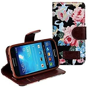 SOL Floral Printed PU Leather Full Body Case with Strap and Sticker for Samsung Galaxy S4 Mini I9190