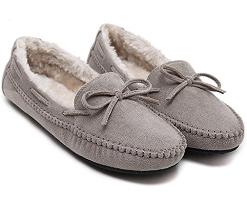 Erbsen Mokassins Stiefel Minetom Flache Schuhe Schuhe Hausschuh Damen Mit Warme Winter Loafers Bowknot Grau qfqxw4EX
