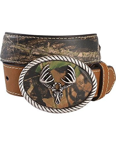 Skull Boots Buckle (Nocona Boys' Camo Deer Skull Buckle Western Belt Brown)