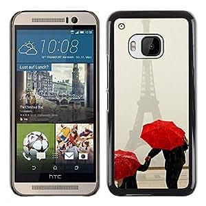 Paccase / SLIM PC / Aliminium Casa Carcasa Funda Case Cover para - Umbrella White Art Snow Winter Red - HTC One M9