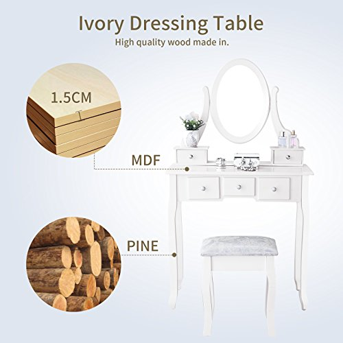 Mecor Vanity Table Set with Oval Mirror/5 Drawers,Wood Makeup Dressing Table Bedroom and Cushioned Stool,White