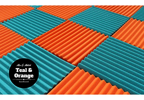"Soundproofing Acoustic Studio Foam - Teal Color - Wedge Style Panels 12""x12""x1"" Tiles - 6 Pack by SoundAssured (Image #3)"