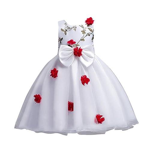f9d31ea0c0c7 Toddler Baby Girl Ruffle Rose Flower Bowknot Tulle Lace Tutu Slip Princess  Dress (4T(