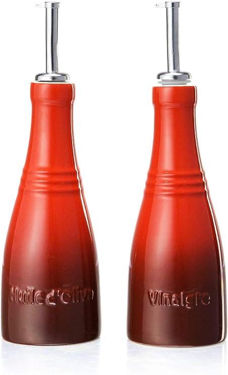 LE CREUSET Set de Aceite y vinagre, Cerámica de gres, Rojo, 240 ml ...