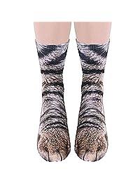 Animal Feet Socks Men Women Crazy Novelty Animal Paw Crew Funny Socks Sublimated 3D Print Socks Cosplay Sneakers Art