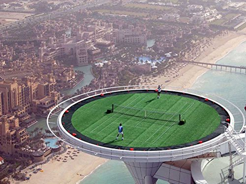Dubai Burj Al Arab - Highest Tennis Court -Oil Painting On Canvas Modern Wall Art Pictures For Home Decoration Wooden Framed (20X16 Inch, Framed) ()