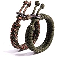 The Friendly Swede (TM) Bundle of 2 Premium Fish Tail 350 lb Paracord Bracelets With Metal Clasp - Adjustable Size Fits 7-8.5 Inch Wrist (Army Green + Army Green Camo)