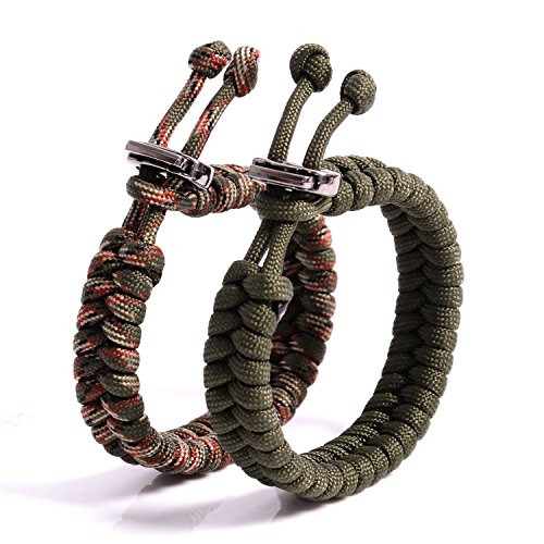(The Friendly Swede (TM Bundle of 2 Premium Fish Tail 350 lb Paracord Bracelets With Metal Clasp - Adjustable Size Fits 7-8.5 Inch Wrist (Army Green + Army Green Camo))