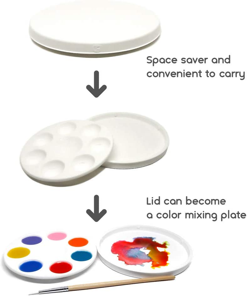 and More Durable a Unique Type Easy Clean by Peel Off and Flexible Safer Kits inventive Artist Smart Paint Palette White nonstick and Unbreakable Synthetic Rubber with Paint Tray lid 8 Wells