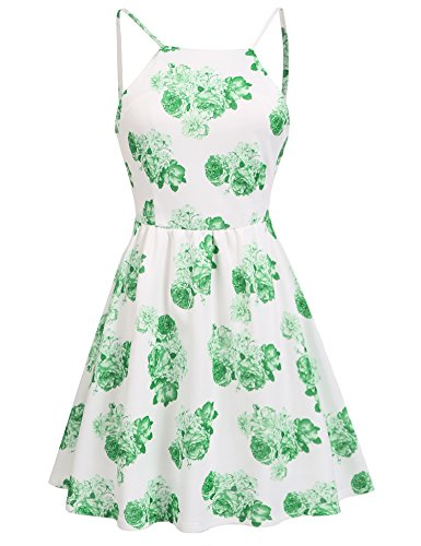 ACEVOG Women Sexy Backless Skater Dress Spaghetti Strap Sundress With Lining (Green, L)