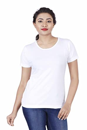 cbf3857741c FLEXIMAA Women's Cotton Round Neck Plain T-Shirt White Color