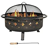 Sunnydaze 36 Inch Brushed Metal Diamonds Fire Pit with Spark Screen