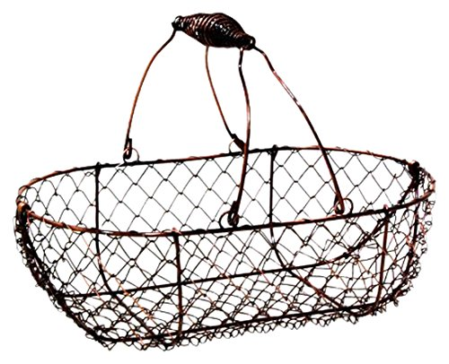 The Lucky Clover Trading Stella Mini Wire Basket with Swing Handle, Copper Finish (Hanging Onion Basket)