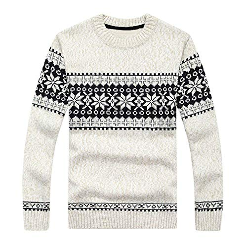 Men's Thicken Long Sleeve Snowflake Pattern Round Neck Pullover Knitted Sweater,White,TagsizeXL-USL
