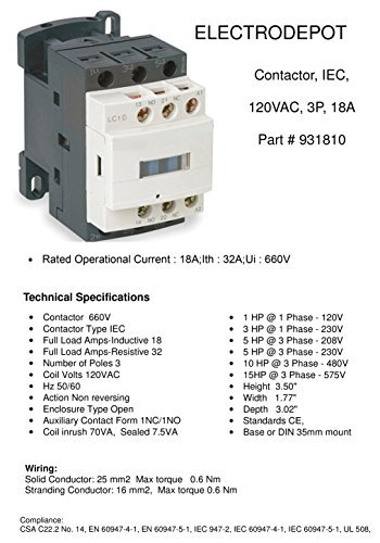 Electrodepot 20 Amp Motor Control AC Contactor 18A 3 Phase 3-Pole, Lighting 32A Coil 120V - 100% Quality by Electrodepot