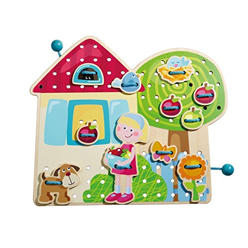 HABA Greta's Garden Lodge Wooden Threading Game with 26 Lacing Tiles and 2 Double Sided Templates for Ages 3+