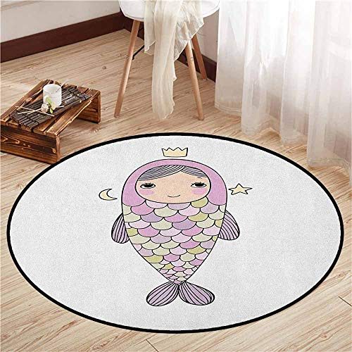 Round Carpets,Mermaid,Fantasy Sea Life Mythological Character Girl in Fish Costume with Crown Moon Stars,Rustic Home Decor,4'11