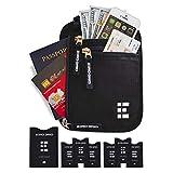 Zero Grid Neck Wallet w/RFID Blocking- Concealed Travel Pouch & Passport Holder (Midnight)