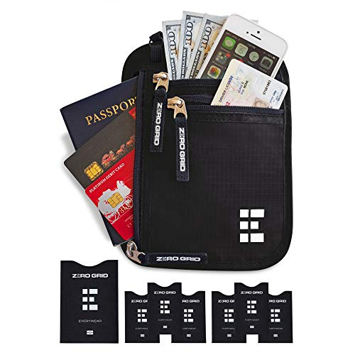 Zero Grid Neck Wallet w/RFID Blocking- Concealed Travel Pouch & Passport Holder (Midnight)