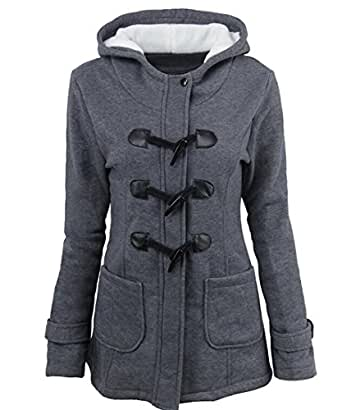 Amazon.com: SYTX Womens Winter Horn Button Hooded Lamb Wool Lined Warm Quilted Jacket Outerwear