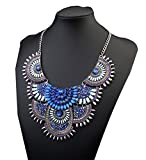 Vintage Jewelry Statement Necklace Chunky Loose Beads Bohemian Pendant (Blue)