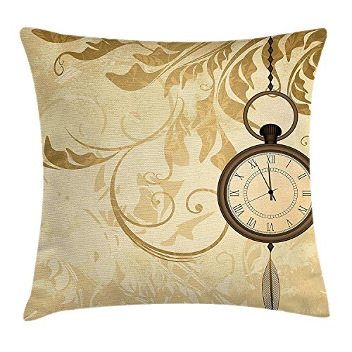 (YOWAKi Clock Throw Pillow Cushion Cover, A Vintage Grungy Background Design with Pocket Watches on Chain Romantic Retro Art Print, Decorative Square Accent Pillow Case,Brown 18x18inch)