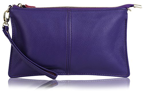 YALUXE Women's Real Leather Large Wristlet Phone Clutch Wallet with Shoulder Chain Purple by YALUXE