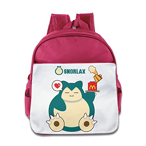 Lovely Baby Hungry Snorlax Teenager Pink School Bag For 1-6 Years Old