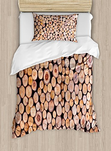 Rustic Home Decor Duvet Cover Set by Ambesonne, Mass of Wood Log Forest Tree Industry Group of Cut Lumber Circle Stack Image, 2 Piece Bedding Set with Pillow Sham, Twin / Twin XL, (Wood Log Cabin Tree House)