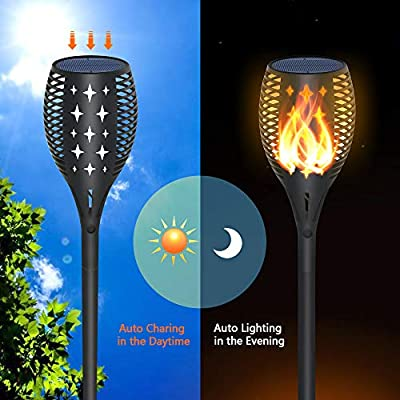YULAMP Solar Light Upgraded, Solar Torch Light with Realistic Dancing Flames Waterproof Landscape Decoration Lighting Dusk to Dawn Auto On/Off Security led Solar Torch Light for Garden Yard Patio(4)