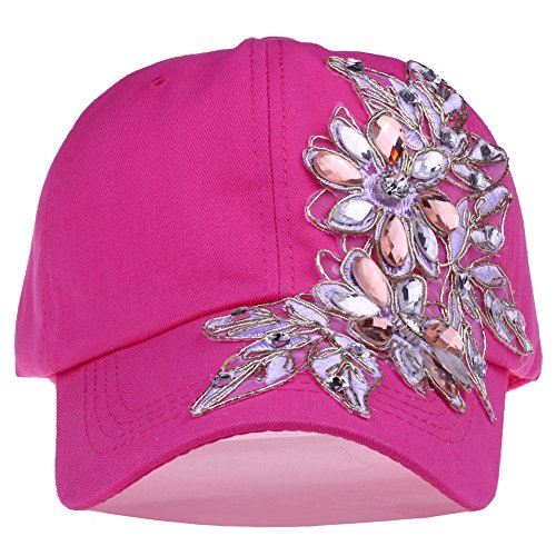 (Bling Baseball Cap Women Lace Flower Rhinestone Snapback Golf Sun Hats Adjustable (85 Hot Pink))