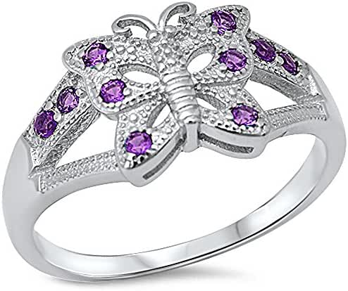 Amethyst Butterfly .925 Sterling Silver Ring Sizes 5-10