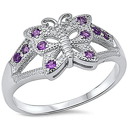 Oxford Diamond Co Amethyst Butterfly .925 Sterling Silver Ring Sizes 5-10