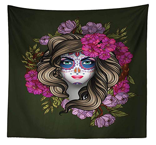 SODIKA Makeup Tapestry Queen Size, Calavera Day The