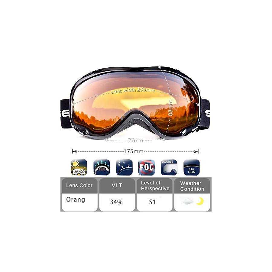 HUBO SPORTS Ski Snow Goggles for Men Women Adult,OTG Snowboard Goggles of Dual Lens with Anti Fog for UV Protection for Girls Snowledge HB167